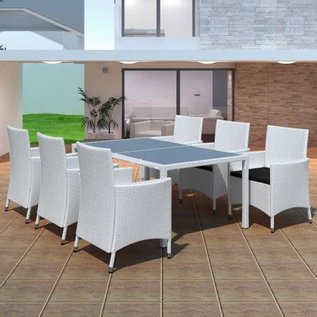 table de jardin resine blanche salon de jardin en r 233 sine tress 233 e blanc 6 chaises 1 table