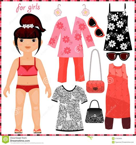 Paper Doll With A Set Of Fashion Clothes Stock Vector Image 37923696 Fashion Paper Doll Template
