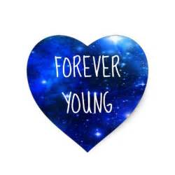 forever young space galaxy heart sticker zazzle
