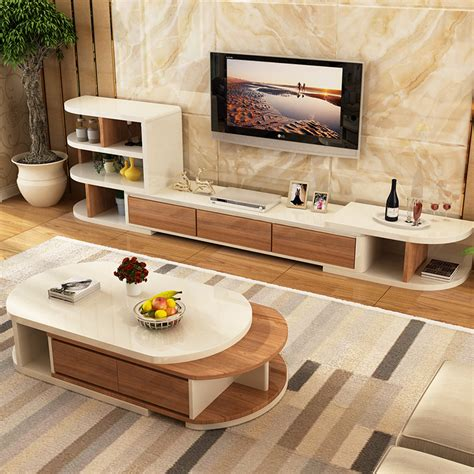 Modern Living Room Table Sets Chapin Coffee Table Tv Cabinet Combination Suit Modern Small Apartment Living Room Retractable