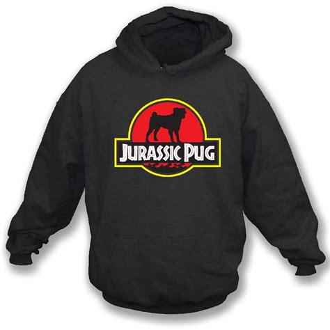 pug sweatshirt jurassic pug hooded sweatshirt from animals yeah yeah uk