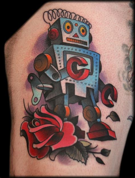 robot tattoo robot by jeff ensminger tattoonow