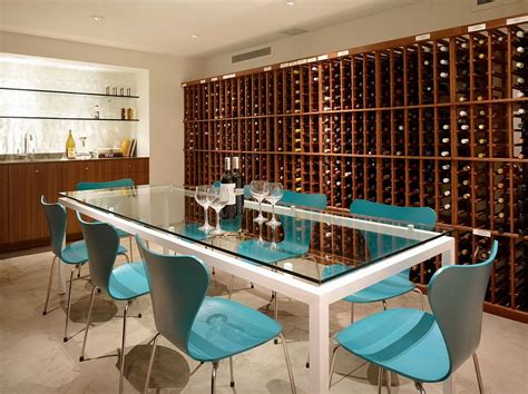 wonderful 7 Great Basement Design Ideas #1: Series-7-chairs-in-blue-create-a-cool-wine-tasting-room.jpg