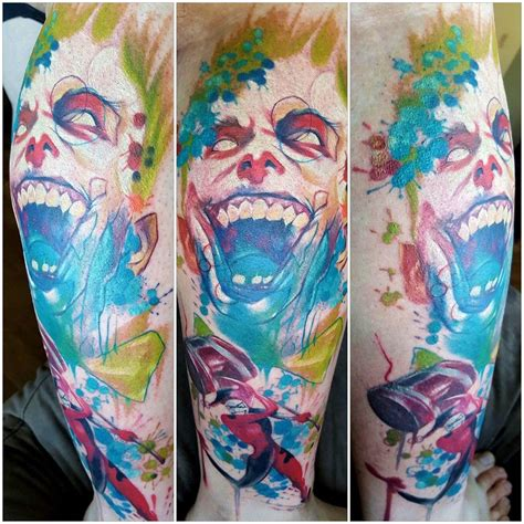 watercolor tattoo joker done by jared archuleta of spellbound in pueblo co