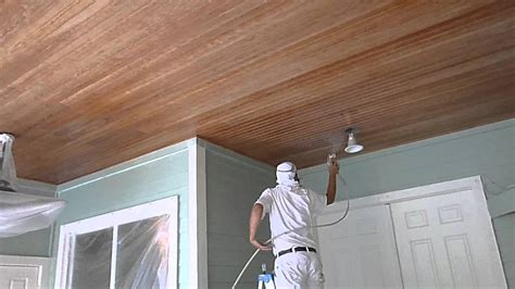 how to paint wood ceilings using graco airless sprayer florida painter