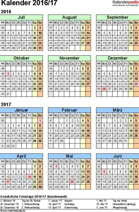Kalender 2016 Halbjahreskalender Halbjahreskalender 2016 2017 Als Pdf Vorlagen Zum Ausdrucken