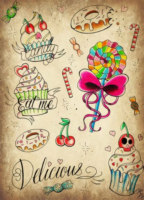 candy shop tattoo flash by poizonink on deviantart
