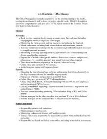 Construction Office Manager Description For Resume office manager description sles