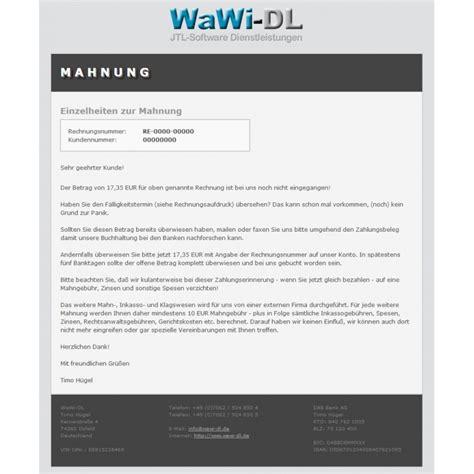 Mahnung Muster Per Email Jtl Wawi Email Vorlagen Html Design 01 Wawi Dl 10 00