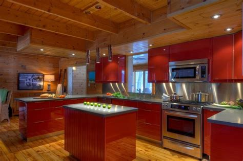 kitchen great room contemporary kitchen toronto by modern red kitchen in a log cabin contemporary kitchen