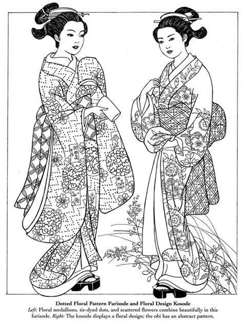 japanese girl kimono coloring page inkspired musings japan poems culture paperdolls and