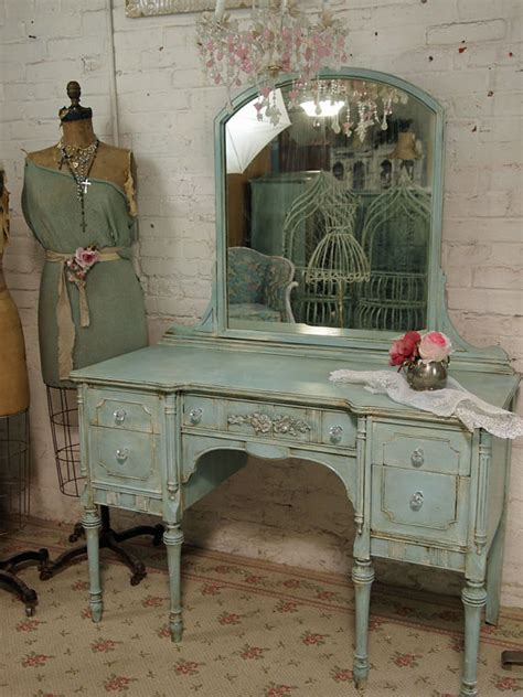vintage painted cottage shabby aqua chic vanity by