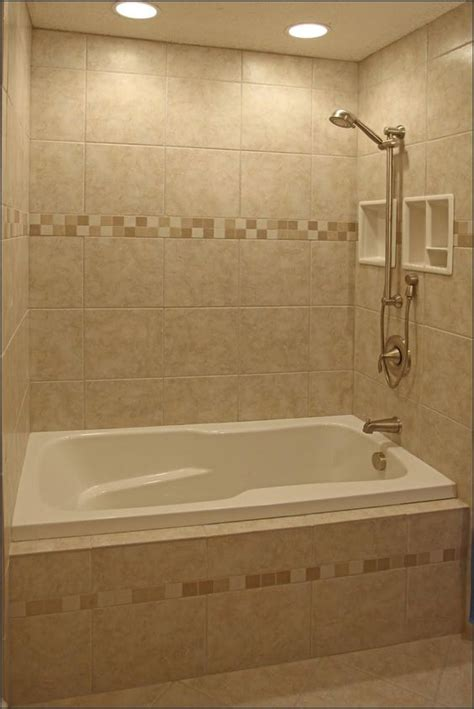 Bathroom Shower Insert Everything In This Tub Insert Neutral Warm Tile With Accent Strips Shelf Inserts Slide