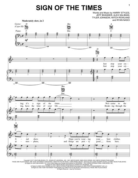 Sign Of The Times | Sheet Music Direct