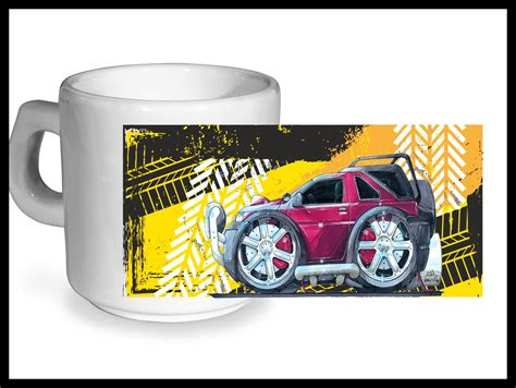 Koolart TYRE TRAX 4x4 Design For Retro Land Rover Freelander   Ceramic Tea Or Coffee Mug