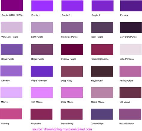 purple color names hues shades and tints of purple common names their rgb