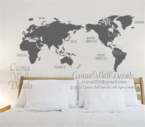 world map with country names decal map of world vinyl wall decals wall mural wall sticker by cuma