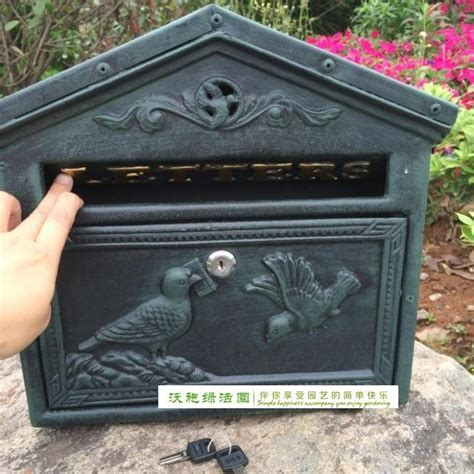 Iron Mailboxes Decorative Cast by Cast Iron Mailbox Postbox Mail Box Green Wall Mount