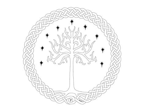 yggdrisil tree of gondor lines by thedarknesswithinme9 on