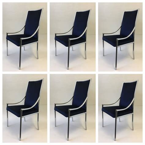 Royal Blue Dining Chairs Set Of Six Chrome And Royal Blue Velvet Dining Chair Attributed To Cardin For Sale At 1stdibs