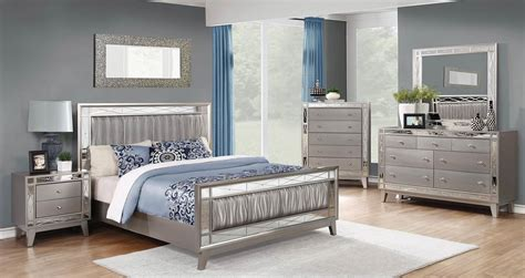 coaster leighton upholstered mirrored bedroom set metallic mercury  bedroom set