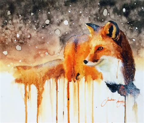 snow fall and fox painting by jonathan knight art no 904