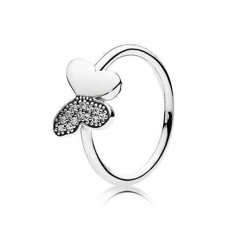 Butterfly Wing Silver Ring With Cubic Zirconia P 1005 sale butterfly silver ring with clear cubic zirconia pandora