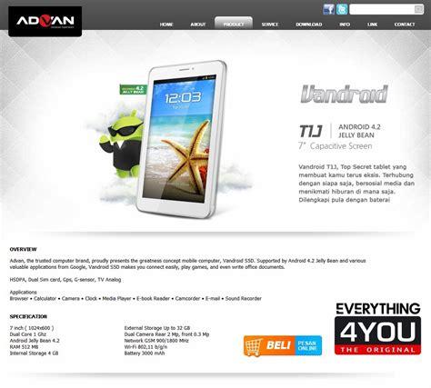 Advan Keluaran Baru advan vandroid t1j tablet android harga murah teknoflas