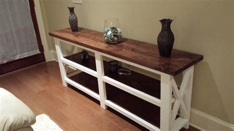 rustic farmhouse console ana white rustic x console table the beginning diy