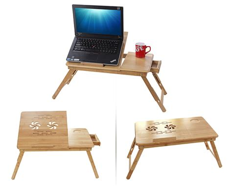 bamboo laptop desk bamboo portable folding notebook computer pc laptop table bed desk stand ebay