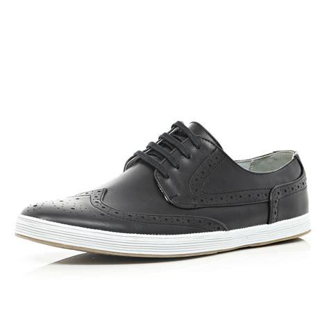 brogue sneaker river island black brogue sneakers in black for lyst