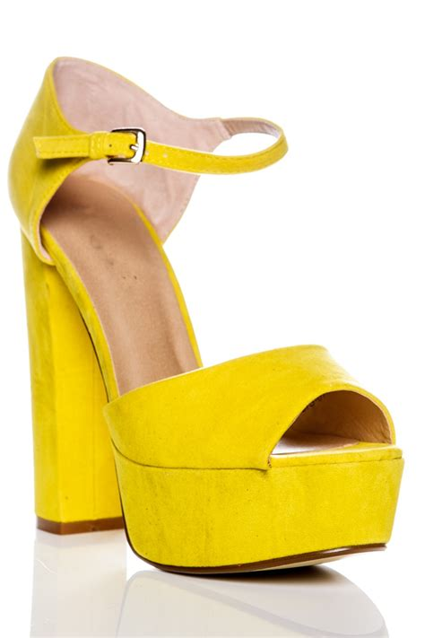 sia yellow suede platform high heels at misspap co uk