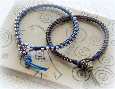 how to make jewelry bracelets easy to make lashed rhinestone and leather bracelet