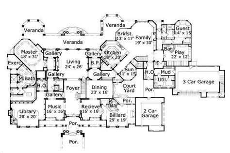 big house floor plans luxury houseplans home design ohp 20040 19291