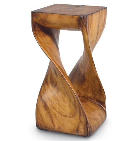 Wood Stool End Table palecek faux wood rustic industrial modern faux twisted