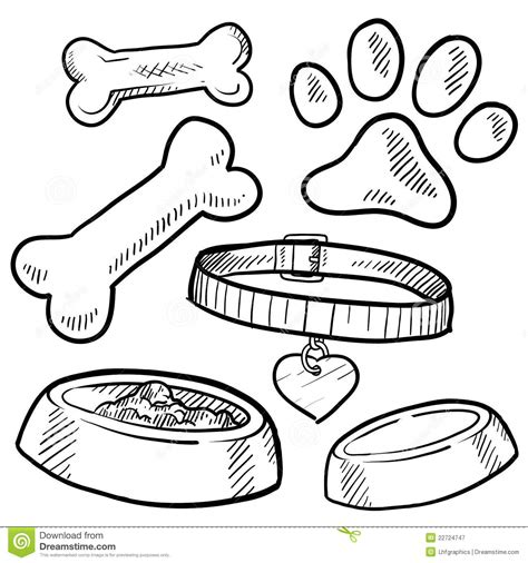 item doodle draw pet items sketch royalty free stock photography