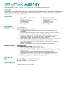Aircraft Mechanic Resume Template by Unforgettable Aircraft Mechanic Resume Exles To Stand