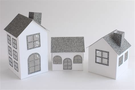 How To Make A 3d House Out Of Paper - diy week 6 8 glitter paper houses a cup of thuy
