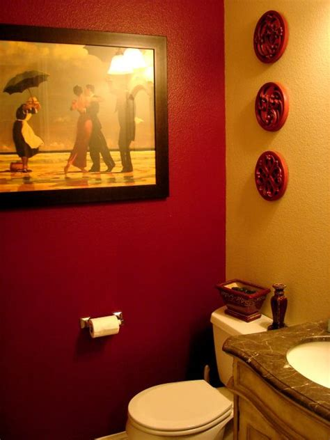 bathroom with red accents red accent wall in half bath bathroom redo pinterest