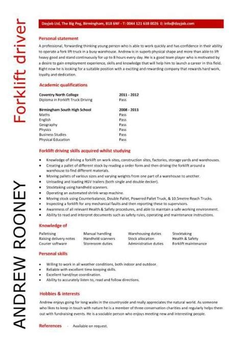 drivers cv template 17 best images about exle of cv entry level resume