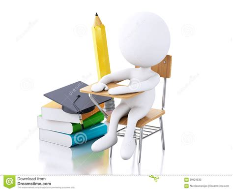 3d white with school desk and education objects
