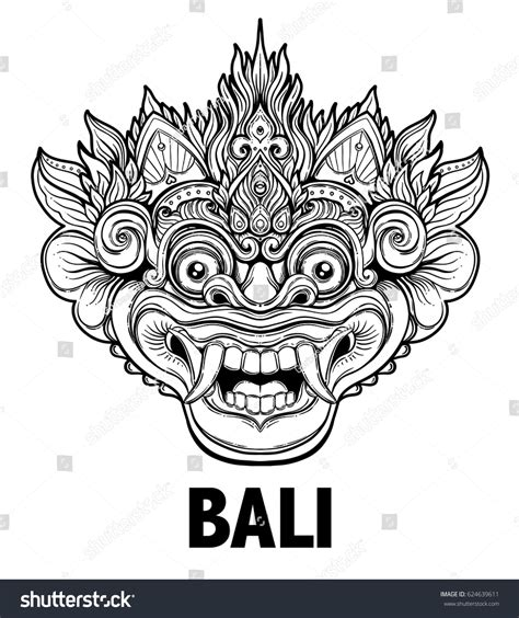 logo tattoo indonesia barong traditional ritual balinese mask vector stock