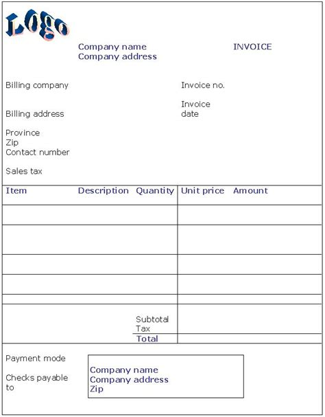 easy invoice template invoice templates