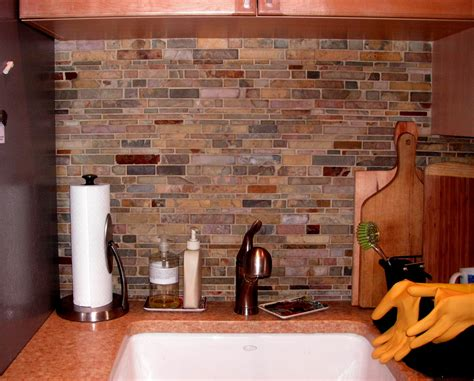 Kitchen Backsplash Colors Color Forte Colorful Slate Tile Backsplash For Kitchen