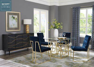 evianna pc dining set   brass scott living  coaster