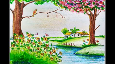 spring pictures to draw beautiful easy nature drawings for kids how to draw