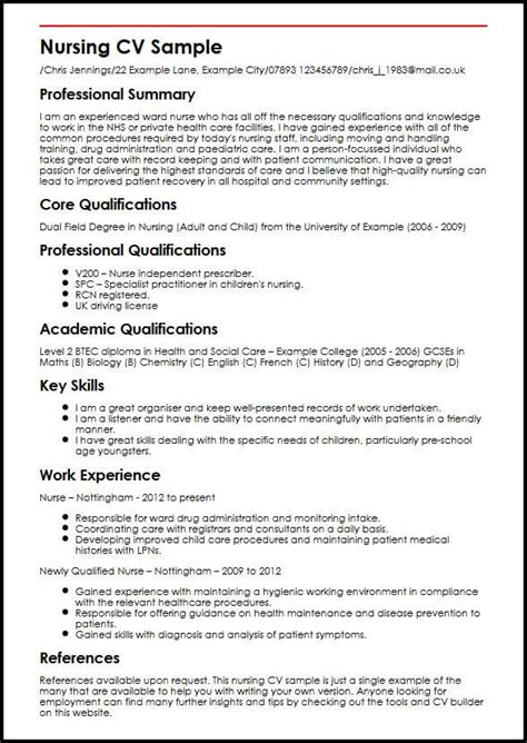Nursing Cv by Nursing Cv Sle Myperfectcv