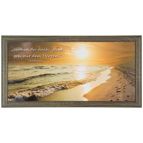 strand thema wohnzimmer bild wandbild kunstdruck 23x49 spruch sonnenuntergang