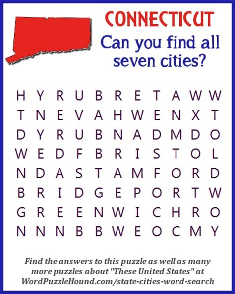 Connecticut Search State Of Connecticut Cities Word Search Word Puzzle Hound