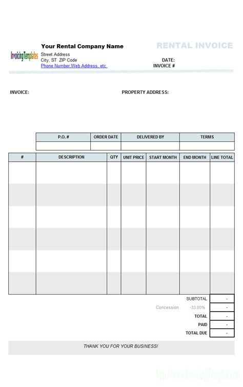 rent invoice template rental invoicing template